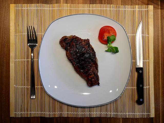 Steak am Tischgrill dann Teller